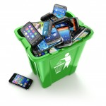 33641031 - mobile phones in trash can isolated on white background. utilization cellphones concept. 3d